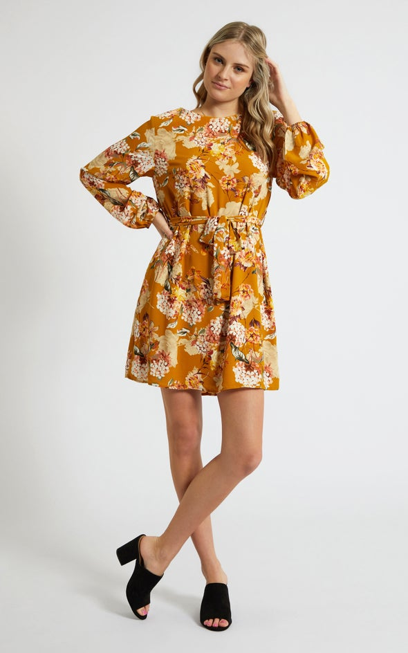 CDC Tie Waist LS Shift Dress Mustard/floral