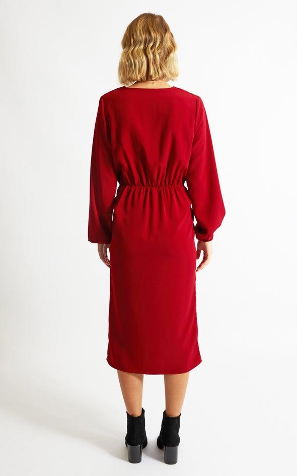 CDC Twist Detail LS Dress Maroon