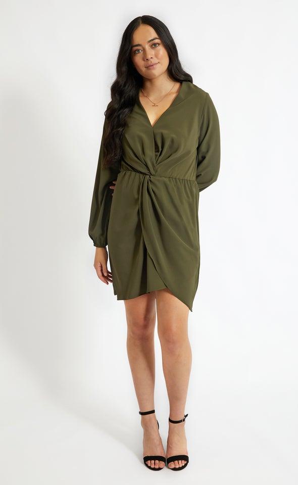 CDC Twist Front LS Dress Khaki