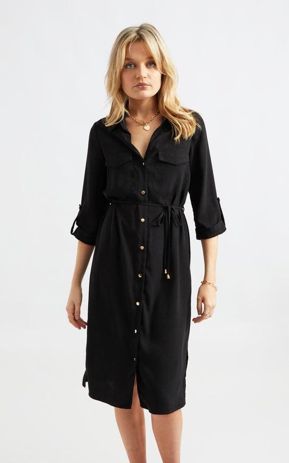 CDC Utility Midi Shirt Dress Black
