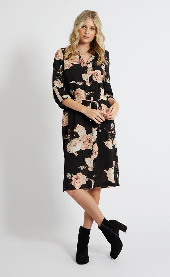 CDC Utility Midi Shirt Dress Black/blush