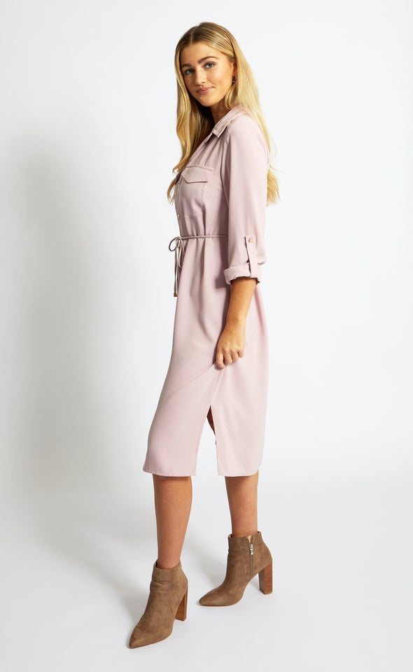 CDC Utility Midi Shirt Dress Blush