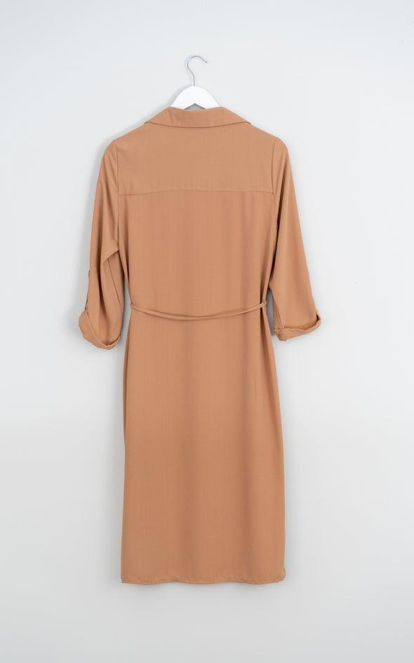 CDC Utility Midi Shirt Dress Camel