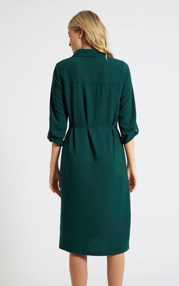 CDC Utility Midi Shirt Dress Emerald