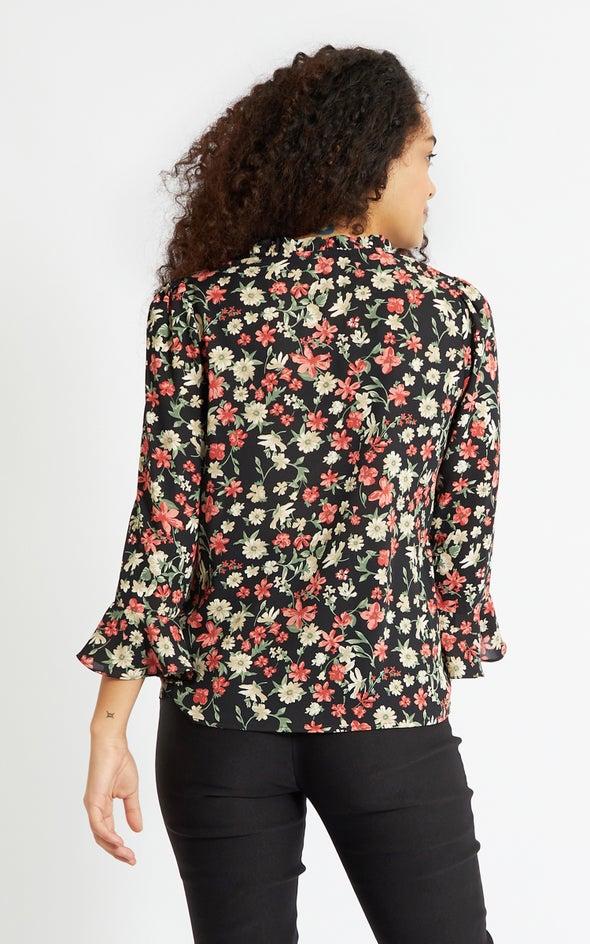 CDC V Neck Bell Sleeve Top Black/floral