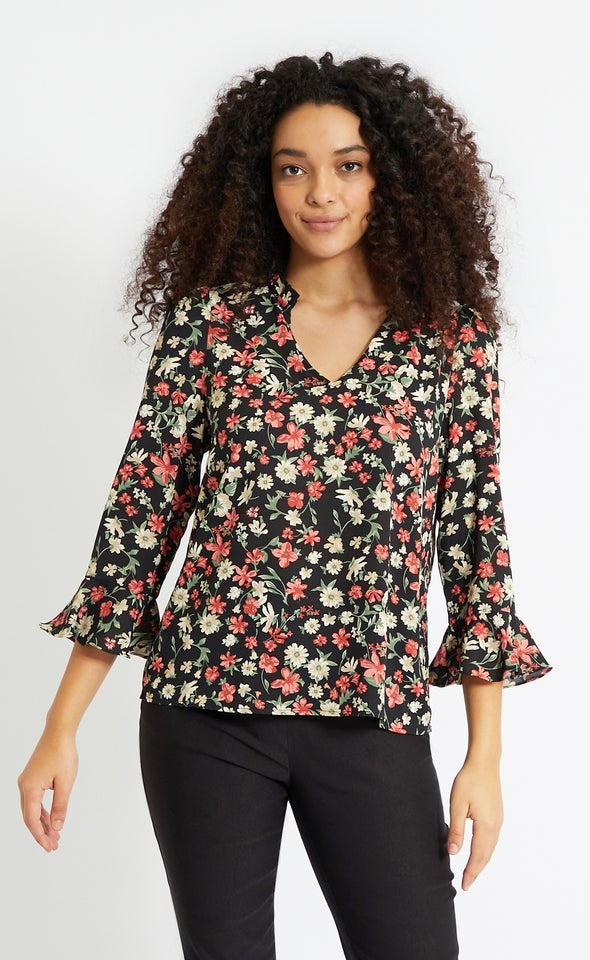 CDC V Neck Bell Sleeve Top