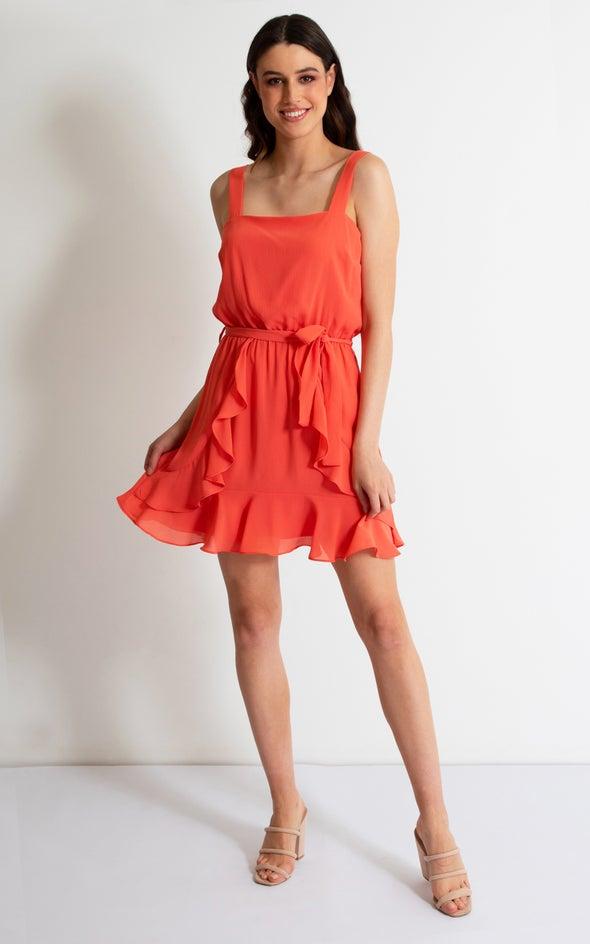 CDC Wide Strap Ruffle Dress Coral