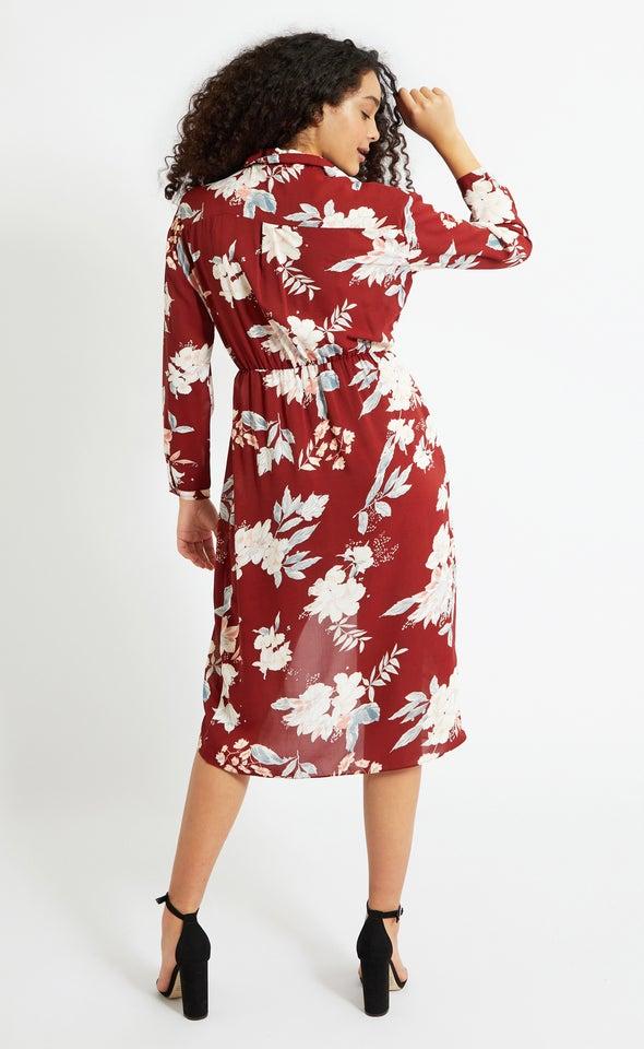 CDC Wrap Detail Shirt Dress Maroon/floral