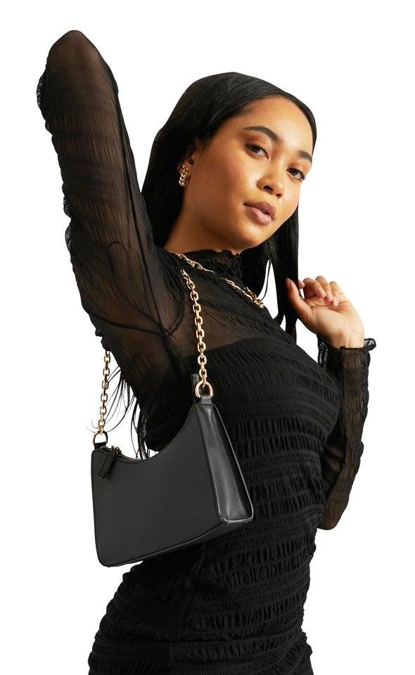 Chain Detail Handbag Black