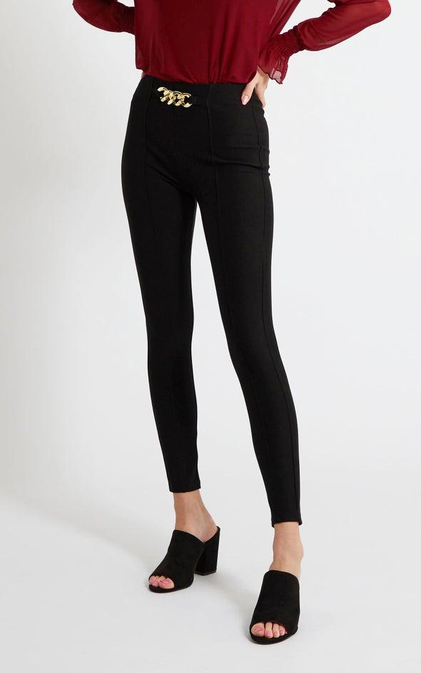 Chain Detail Ponte Pants Black