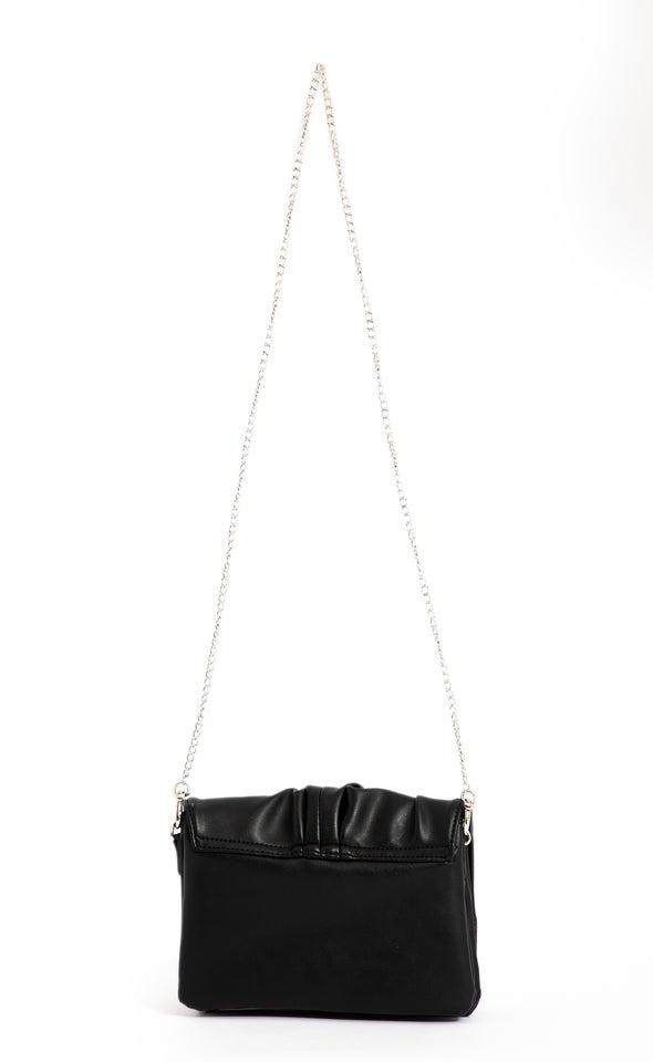 Chain Strap Clutch Black