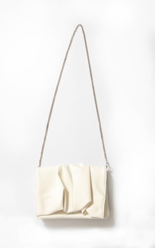 Chain Strap Clutch White