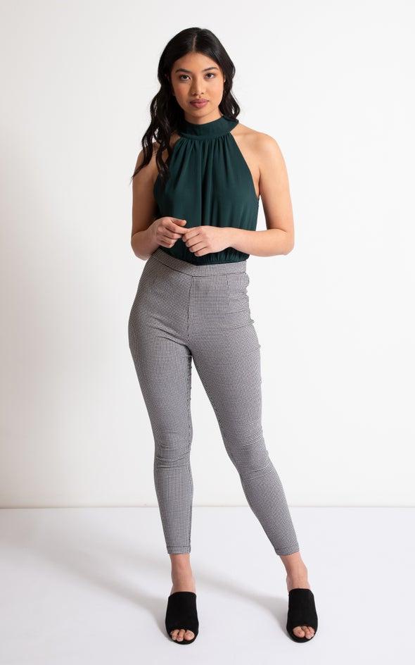 Check Cropped Pants Blk/white