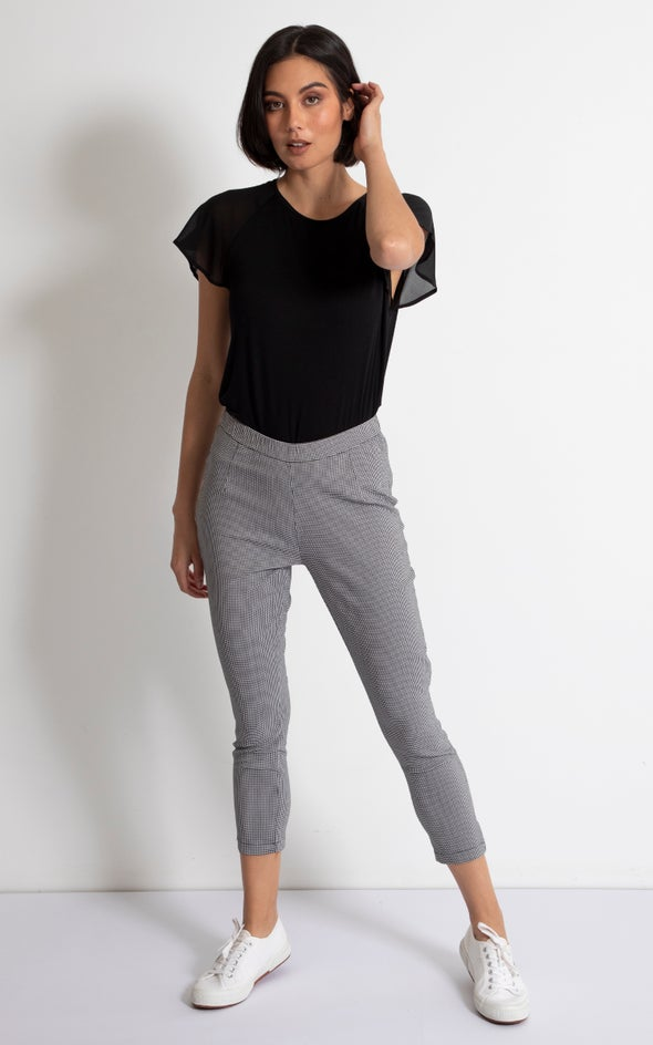 Checked Cropped Pants Blk/white