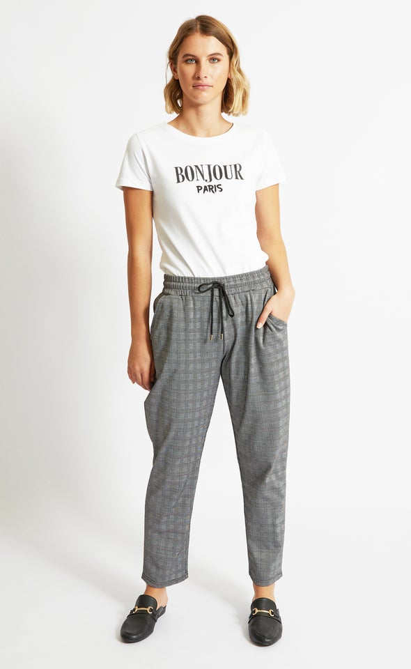 Checked Ponte Joggers