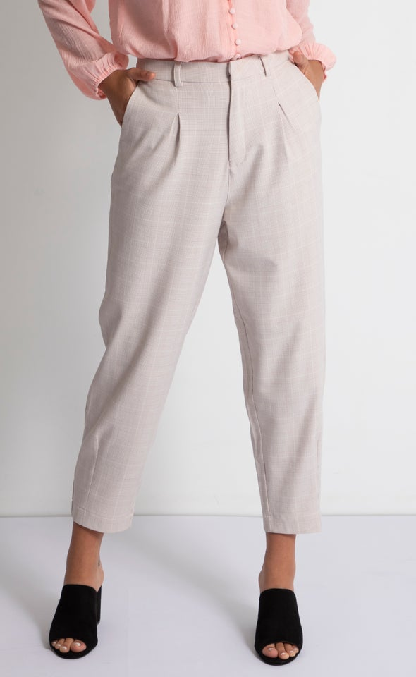 Checked Tapered Pants