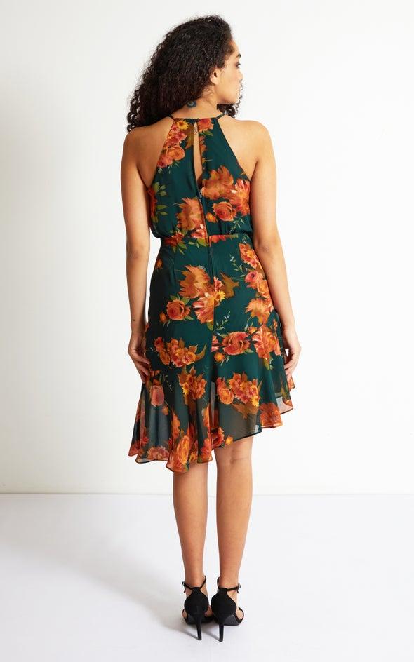 Chiffon Asymmetric Hem Dress Green/floral