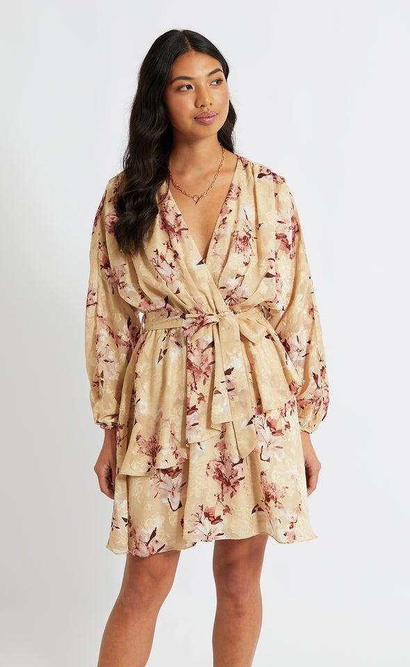 Chiffon Batwing Wrap Dress Beige/maroon
