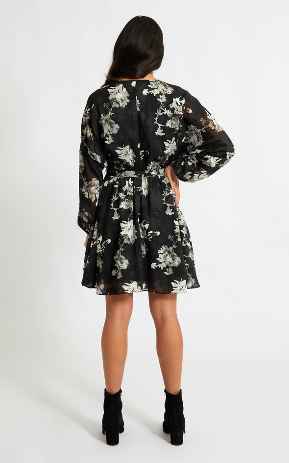 Chiffon Batwing Wrap Dress Black/grey