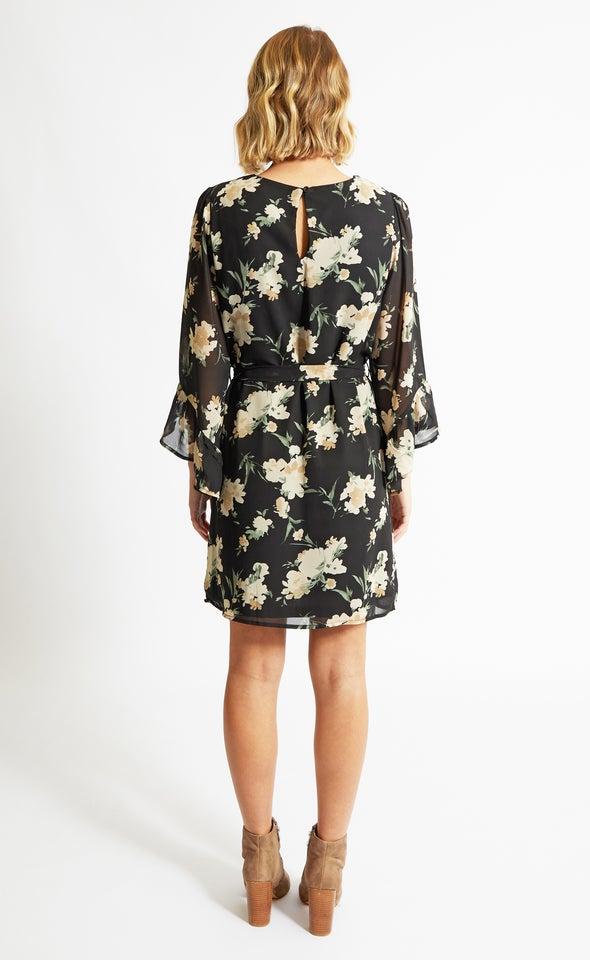 Chiffon Bell Sleeve Shift Dress Black/floral