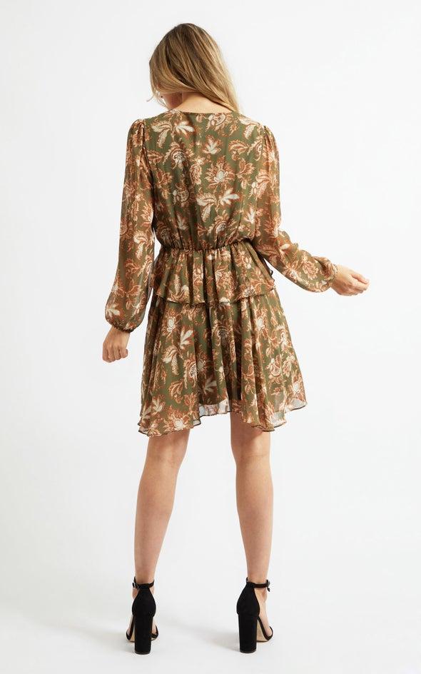 Chiffon Button Detail LS Dress Green/tan