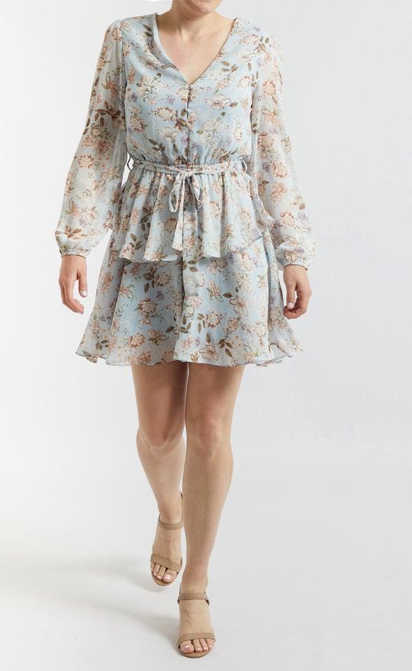 Chiffon Button Front LS Dress Blue/blush