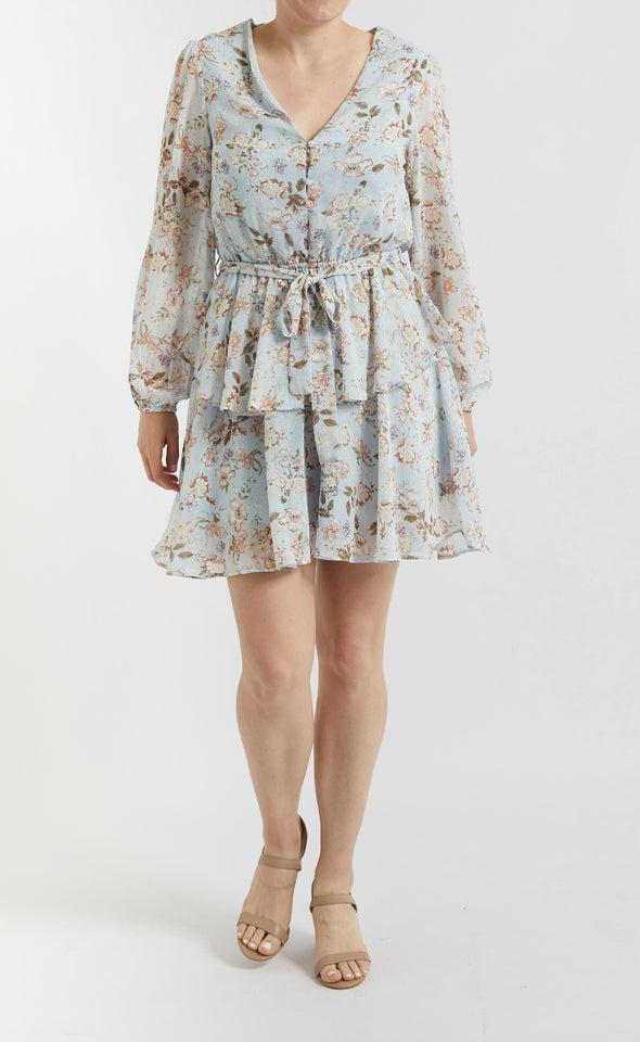 Chiffon Button Front LS Dress