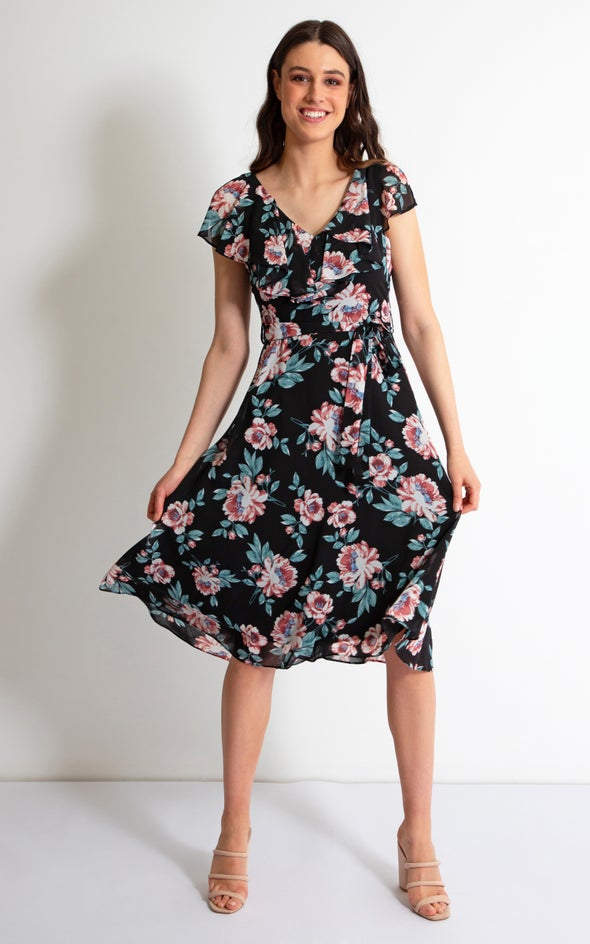 Chiffon Cape Sleeve Midi Dress Black/floral
