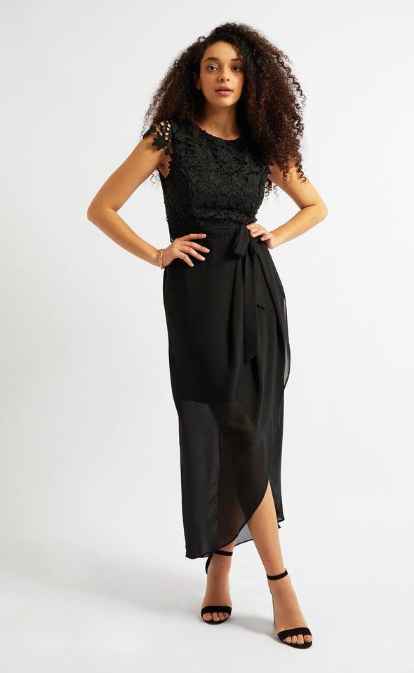 Chiffon Crochet Detail Wrap Gown Black