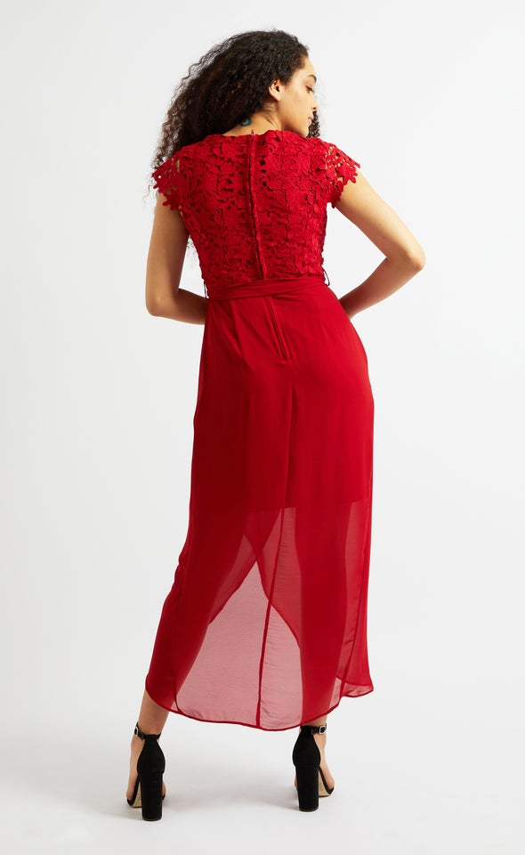 Chiffon Crochet Detail Wrap Gown Red Wine