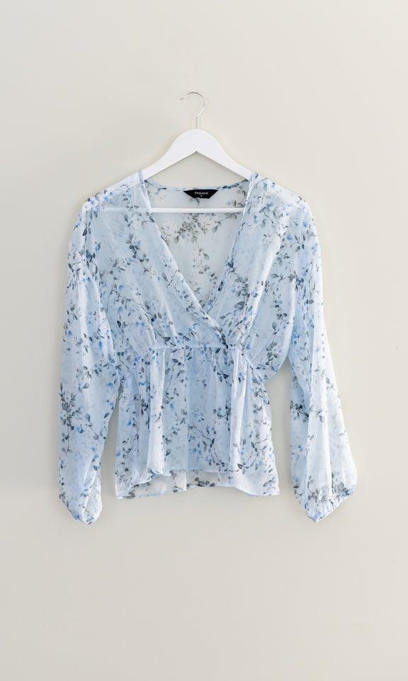 Chiffon Cross Front LS Top Blue/floral
