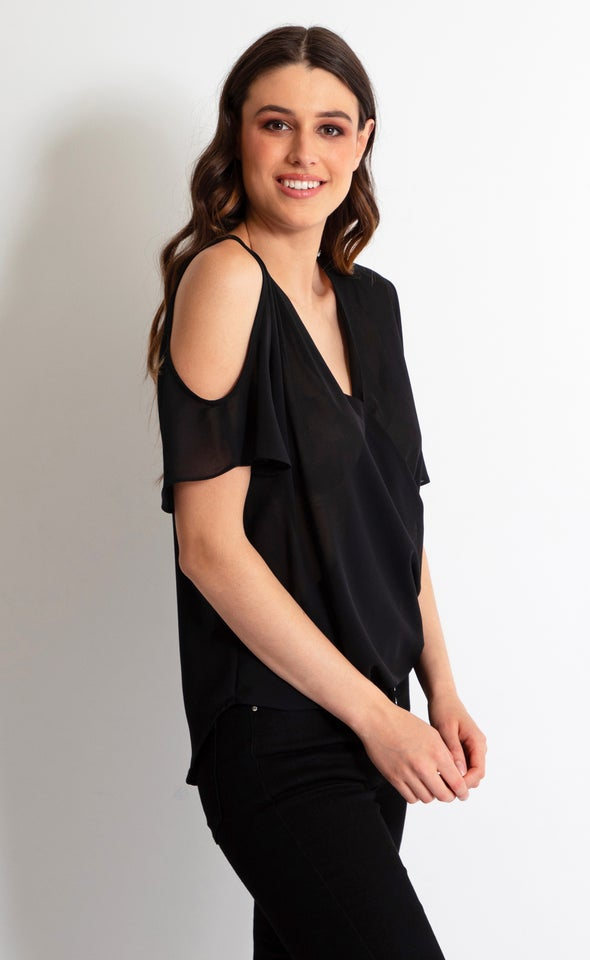 Chiffon Crossover Cold Shoulder Tee