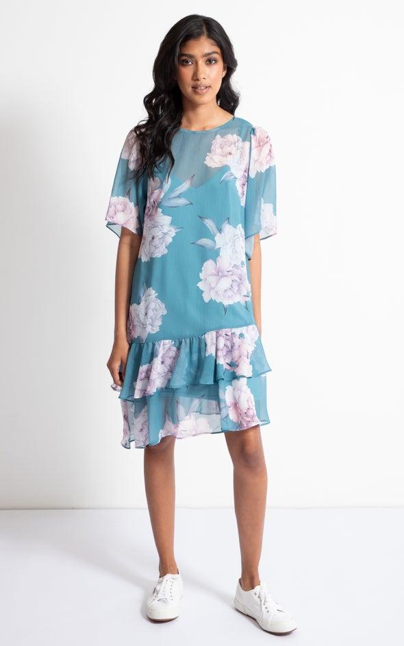 Chiffon Diagonal Hem T-Shirt Dress Teal/blush