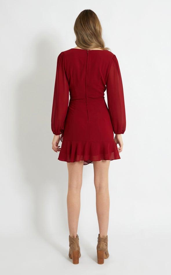 Chiffon Drape Wrap Detail LS Dress Maroon