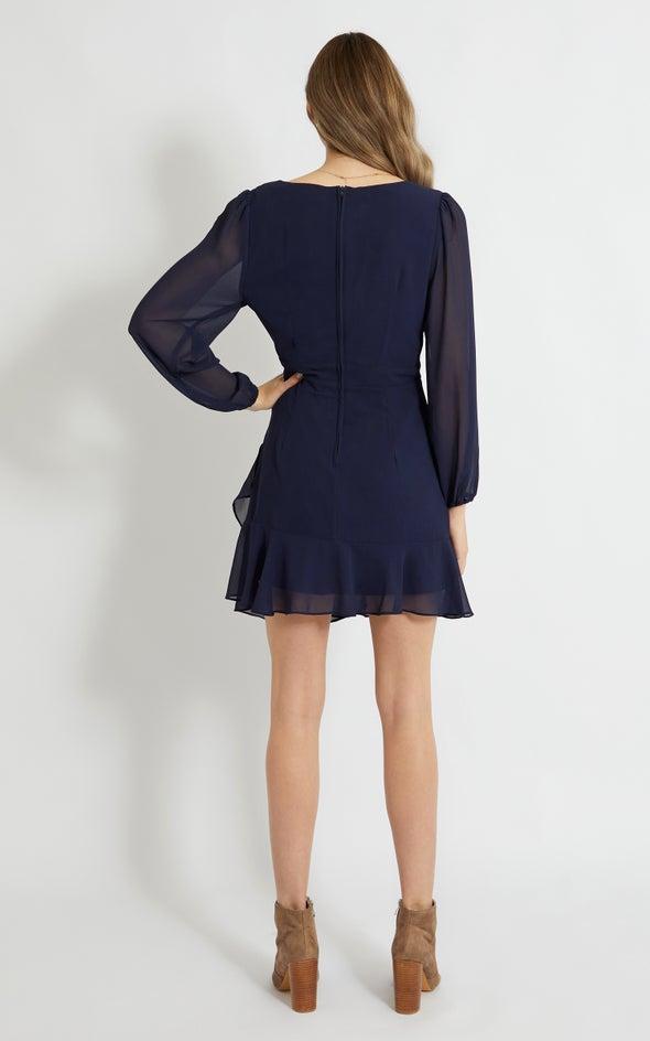 Chiffon Drape Wrap Detail LS Dress Navy