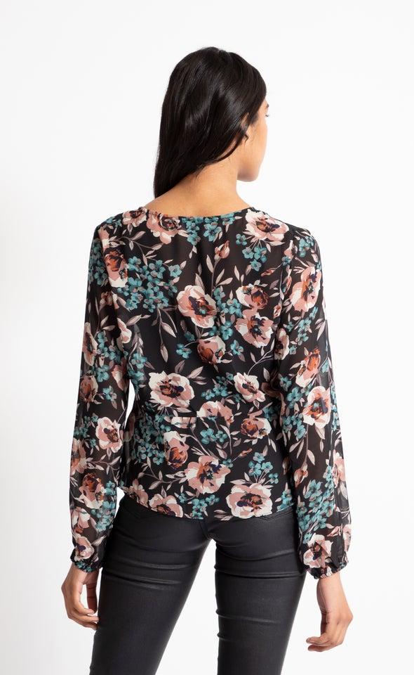 Chiffon Drawstring Detail LS Top Black/floral