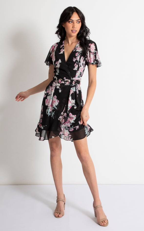 Chiffon Eyelet Belt Detail Dress Black/floral