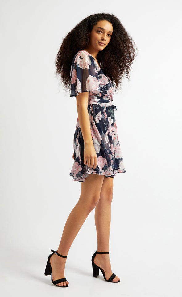 Chiffon Floaty Godet Detail Dress Navy/floral