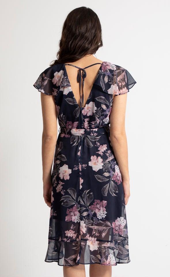 Chiffon Floaty Sleeve Wrap Dress Navy/floral