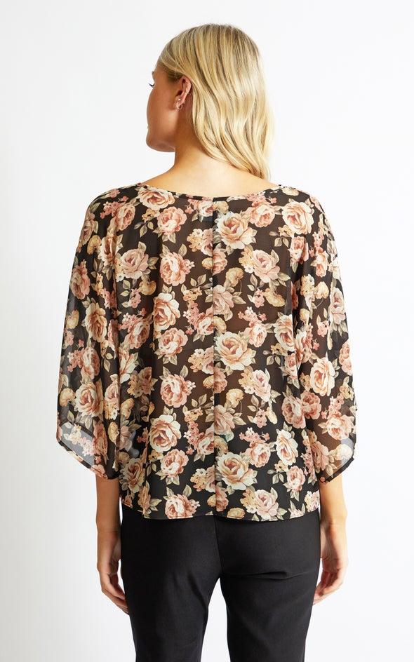 Chiffon Floral Batwing Top Black/floral