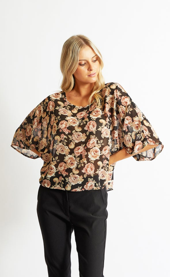 Chiffon Floral Batwing Top