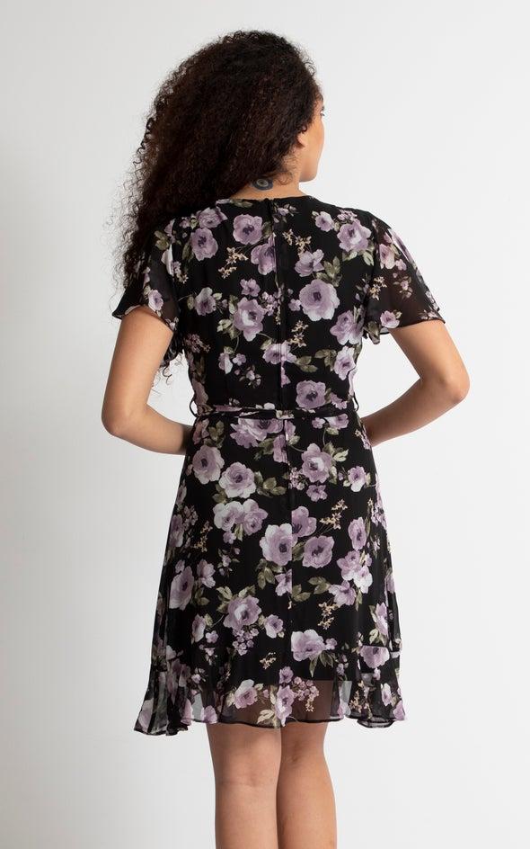 Chiffon Floral Flutter Wrap Dress Black/lilac