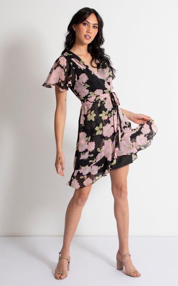 Chiffon Floral Flutter Wrap Dress Black/pink