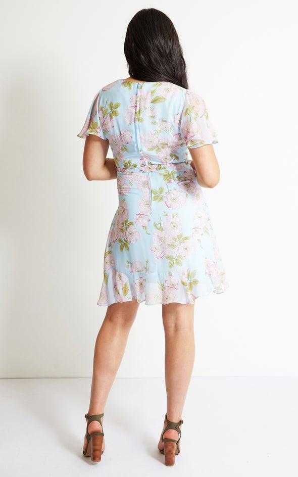Chiffon Floral Flutter Wrap Dress Blue/pink