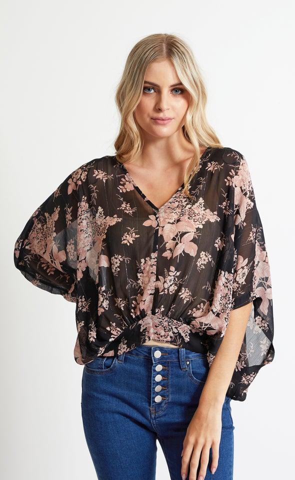 Chiffon Floral Kaftan Top Black/blush