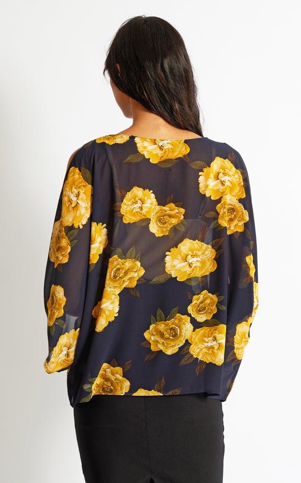 Chiffon Floral Kaftan Top Navy/mustard