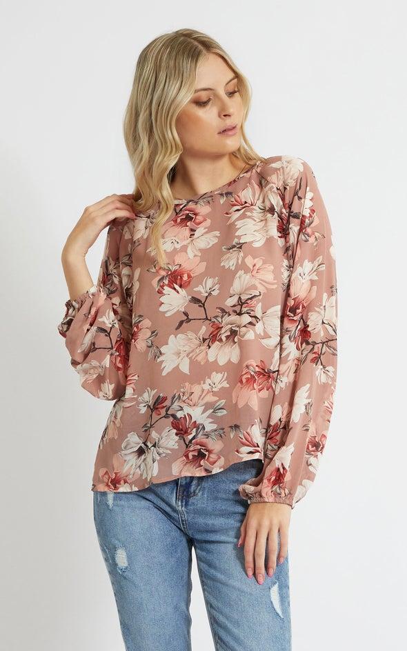 Chiffon Floral Raglan Sleeve Top Dusky/floral