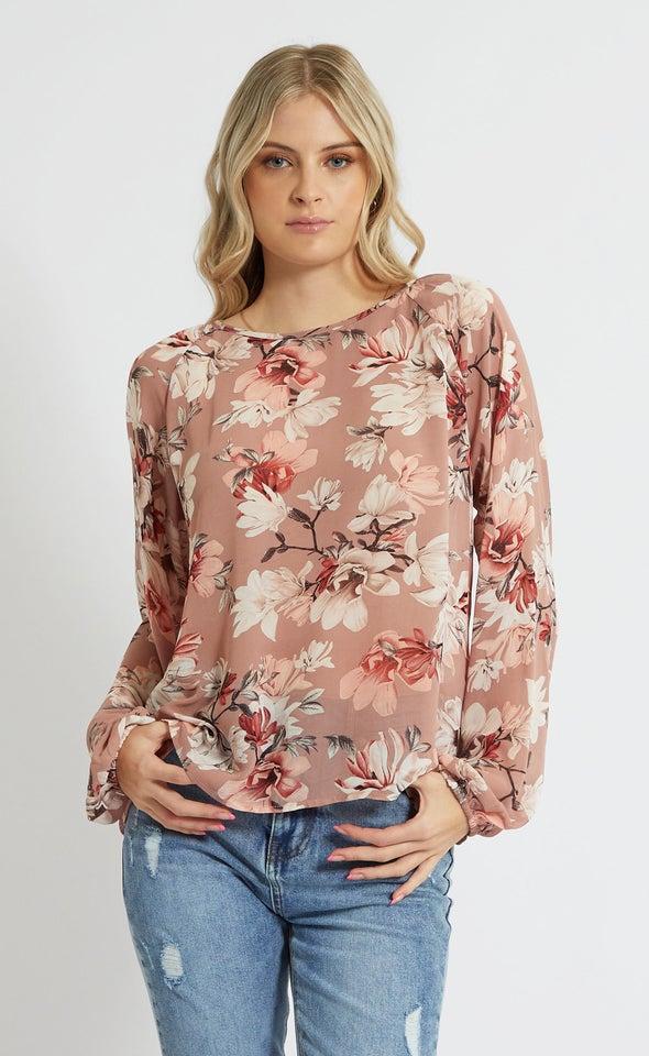 Chiffon Floral Raglan Sleeve Top