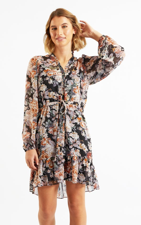 Chiffon Floral Ruffle Shirt Dress Black/floral