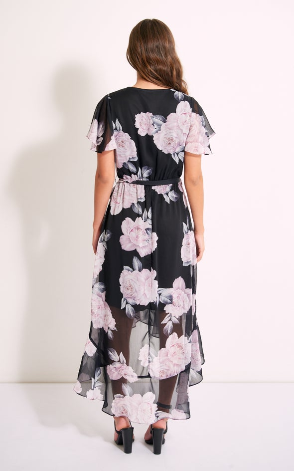 Chiffon Floral Ruffle Wrap Maxi Black/floral